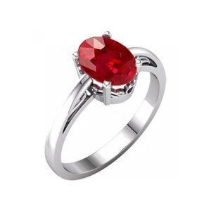 Prong set oval cut 2.00 carat red ruby ring 14k WG